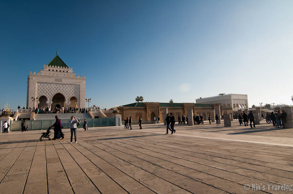 Distance view of the Mausoleum of Mohammed V, taken from the area of Hassan Tower