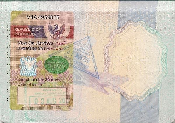 contoh visa on arrival RI