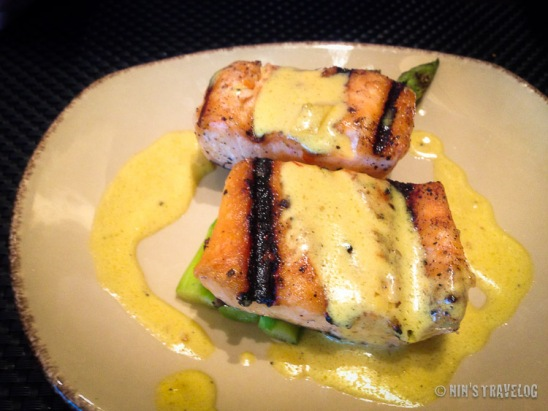 Salmon Steaks on Green Asparagus and Saffron Sauce