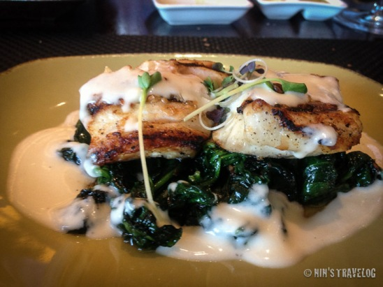 Grilled Hammour Fillets on Sauteed Spinach and Lemon Cream Sauce