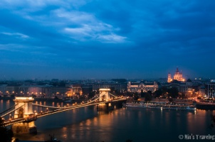 Across the Chain Bridge from Obuda Castle, where St. Stephan's Basilica is just straight ahead from the bridge