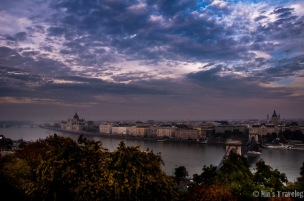 View from Obuda across River Danube on an overcast day