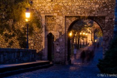The pathway in front of Buda Castle, when the street lights just turned on.