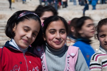 The children who had a school visit to this citadel in Aleppo, they were laughing and chatting when we were there.