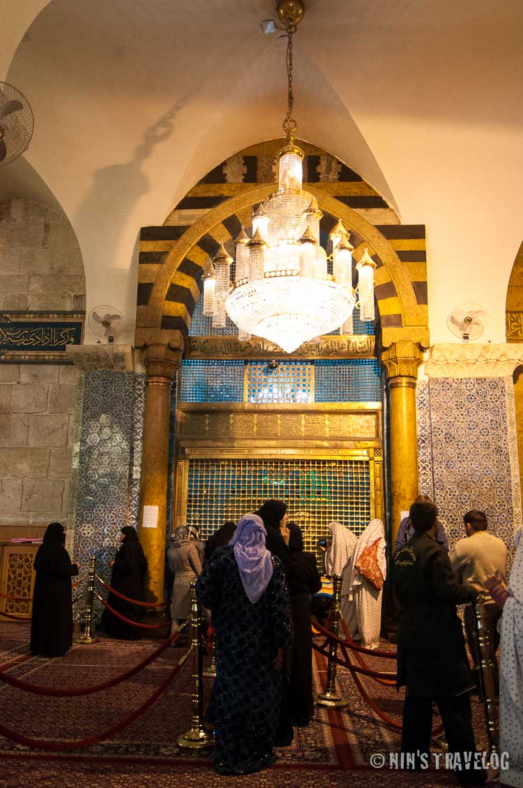 The shrine inside the prayer hall, where the Shiite Muslim pay their respect to John the Baptist's body