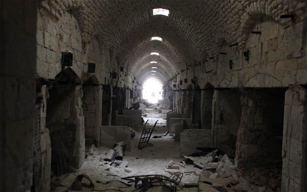 Today: Inside the Aleppo Souk where fierce fighting is going on between the FSA and the government Photo: Will Wintercross for the Telegraph