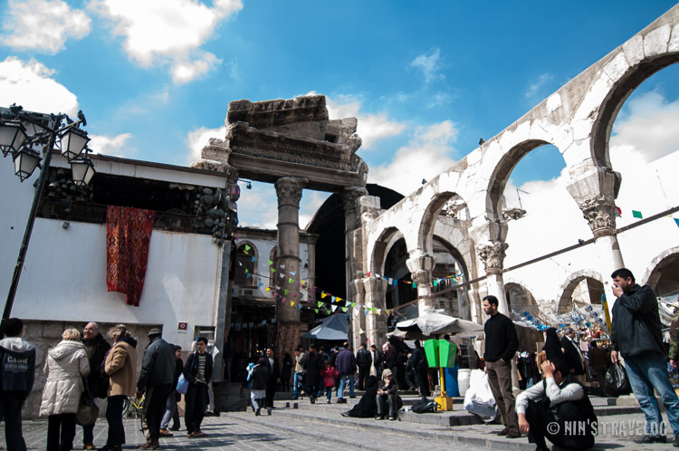 Temple of Jupiter at the end of Al Hamadiyyah Souq and at the entrance to the mosque