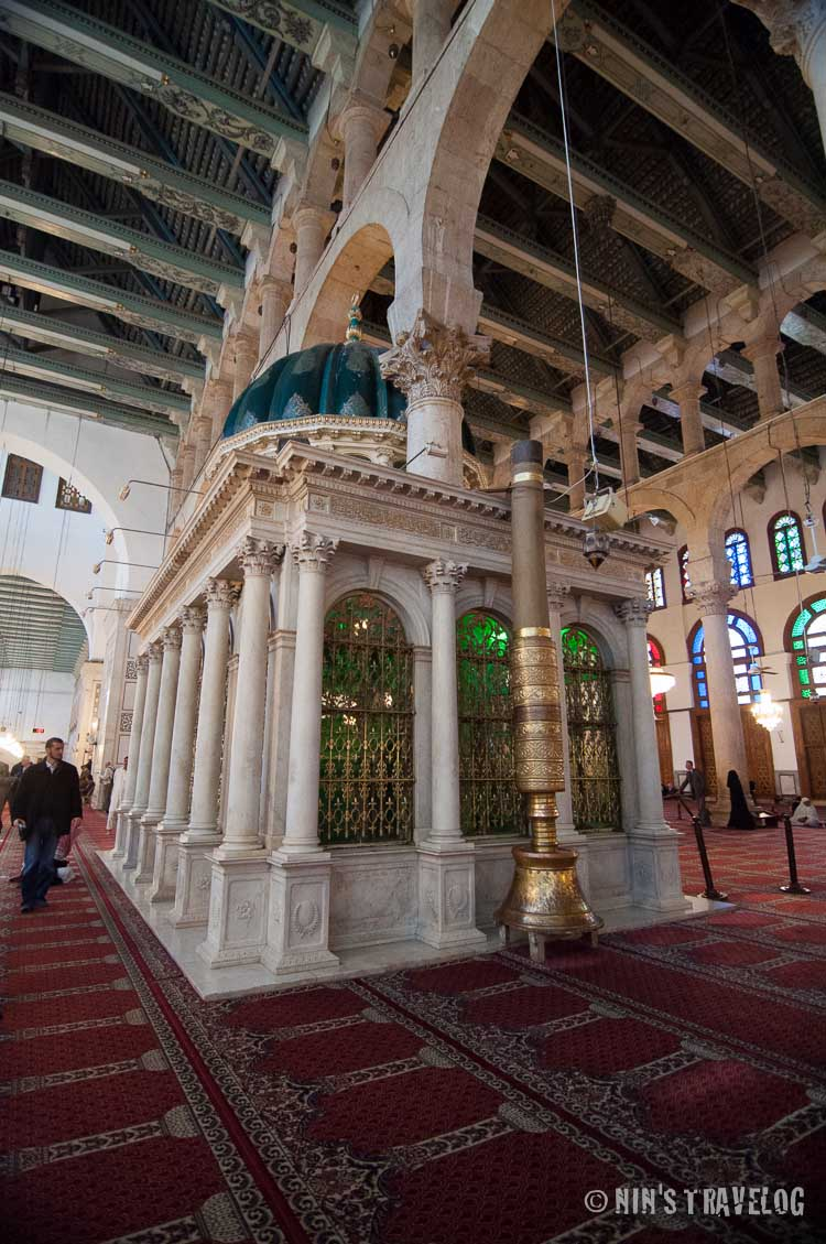 The shrine that housed John the Baptist's head inside the praying hall of the mosque