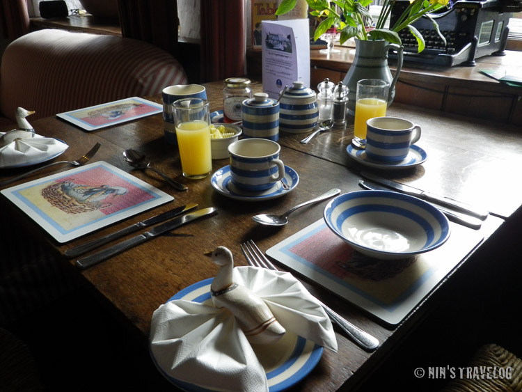 Our breakfast table with home made freshly pressed apple juice waiting for us