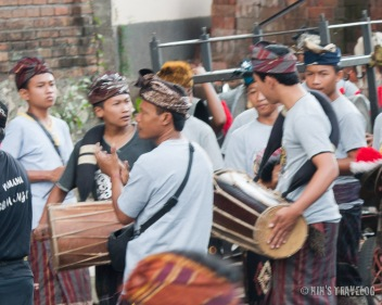 The gamelan music of the local village following the procession