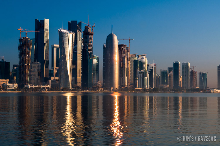 Around two hours after the sun rises, the reflection of the sun still very interesting against Doha's skyscrapers.