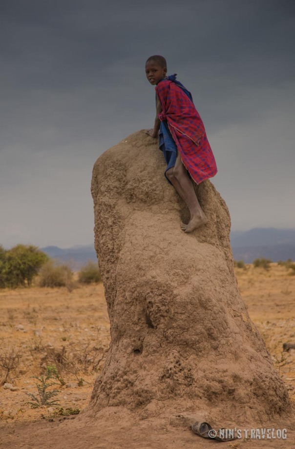 Termite tower with Masai boy