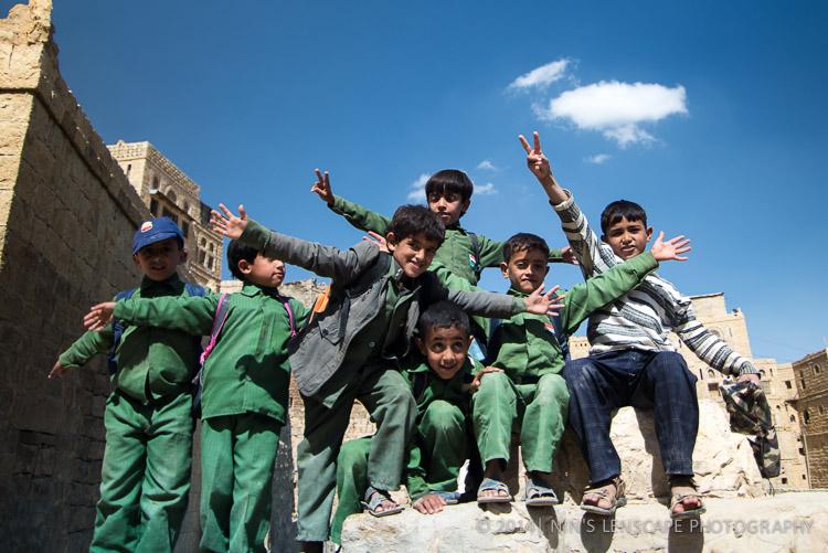 Yemeni Kids happily posing in front of my camera