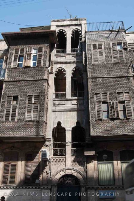 Series of window on an apartment building in Aleppo Syria before the civil war
