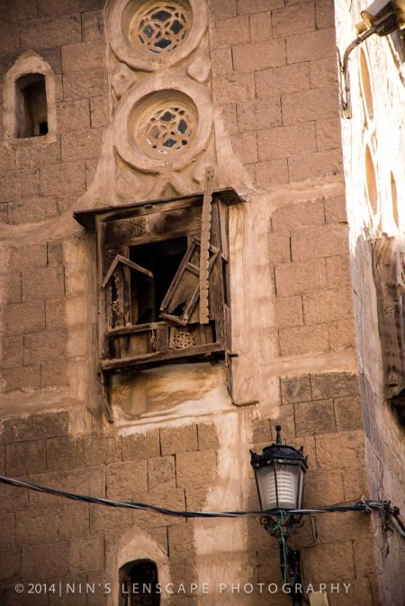 When there's not enough money to restore the wooden mashrabiya over the window in Sana'a, Yemen