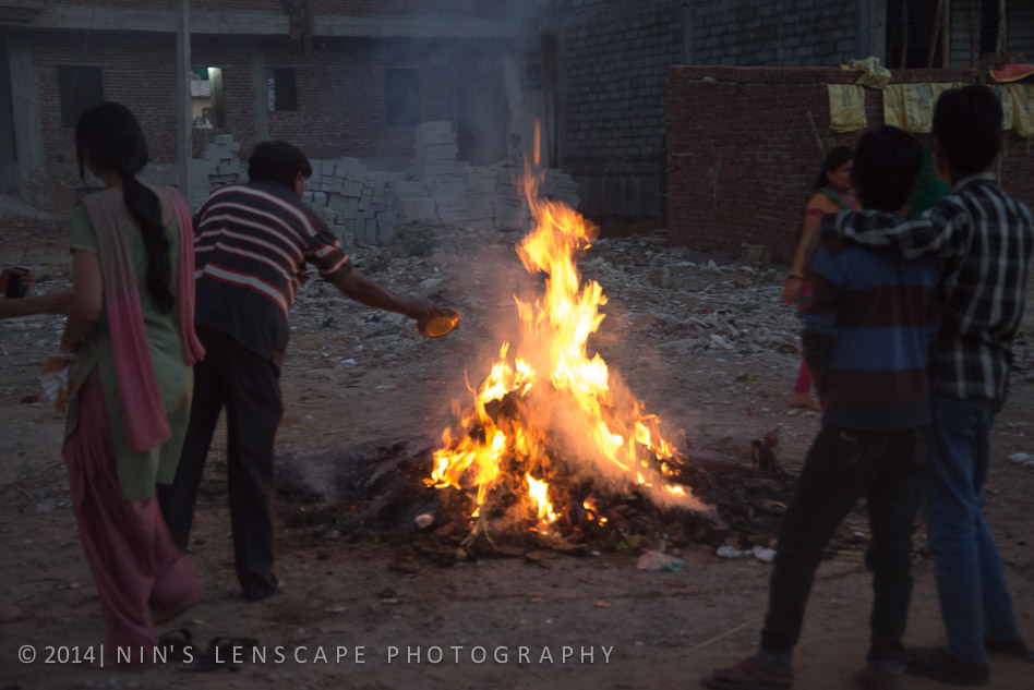Bonfire near the hotel to mark the start of the Holi festival 1 day before D-Day