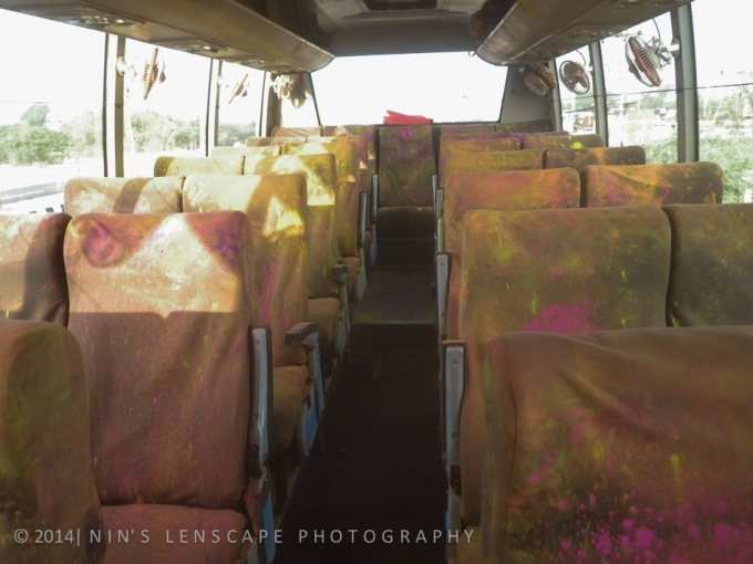 What do you think the colour of the bus seats now? as we stopped for fresh air....