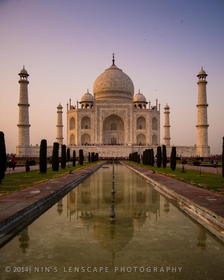 Reflection of Taj Mahal at sun down