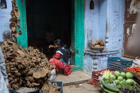 Dried cow dung as a means to keep the mosquitoes away at night, side by side with vegetable stall