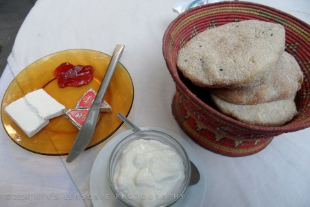 Breakfast at Felix Hotel, Sanaa, after we wake up the receptionist to prepare our breakfast.