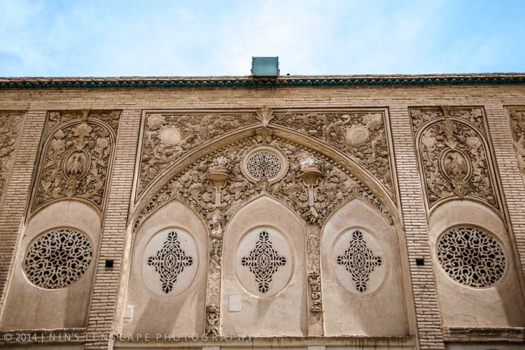 Decoration of the wall above the verandah looking toward the inner courtyard