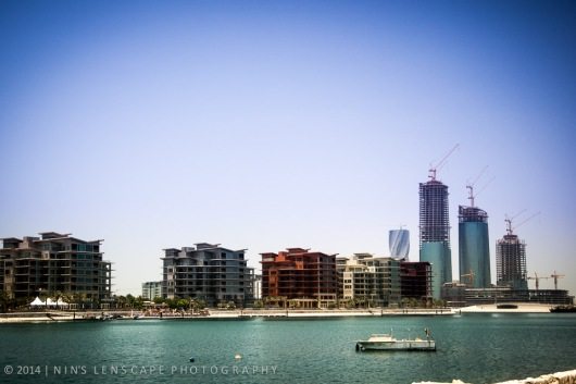 No more traditional fishermen's harbour near Mina Manama, instead a clear view toward a finished Reef Island development
