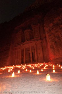 Illuminated Petra in the evening
