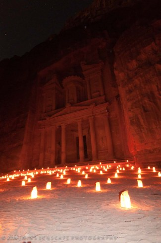 Illuminated Petra in the evening