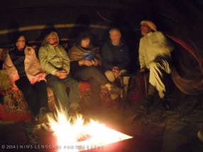 Camp fire in Wadi Rum with our native host.