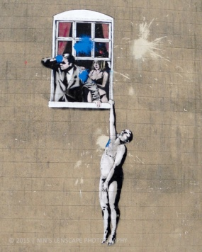 One of Bristol's famous Banksy grafity