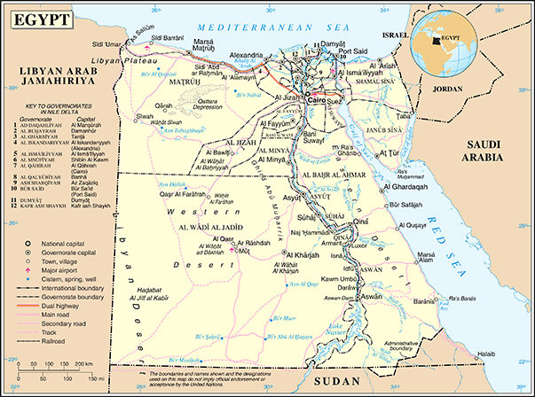 Map of Egypt and the River Nile
