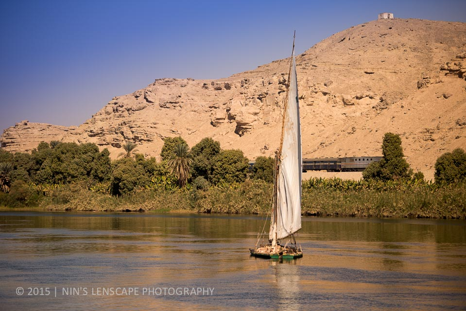 Felucca, means of transports along the Nile that has been there for thousand of years and only change a little since then.