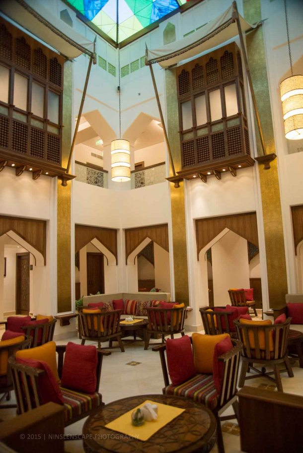 Tea room as part of the hotel facility with high ceiling