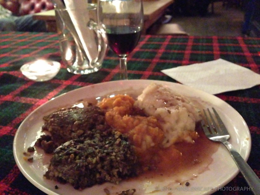 My plate of Haggis serve with crushed neeps and mashed tatties