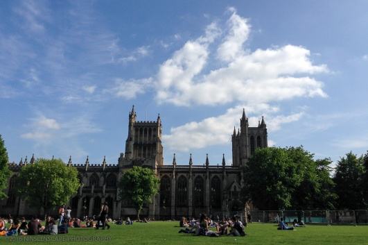 College Green, open space in front of the Cathedral where people enjoy the Summer sunshine is just a 5 minute walk